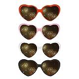 4pcs Heart Effect Diffraction Glasses, 3D...