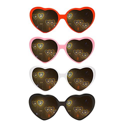 4 x Herz-Effekt Beugungsbrillen, 3D-Herz-Sonnenbrille mit Herz-Effekten, Spezialeffekt, herzförmige Sonnenbrille, modische Rave-Brille für Männer und Frauen, Autofahren, Festival, Party