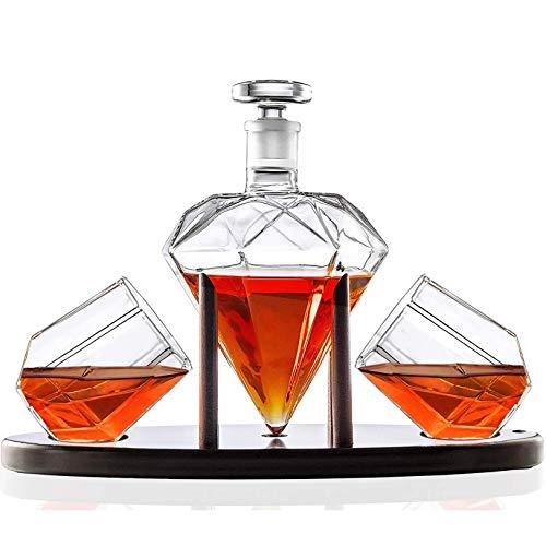 Elegant Handgemacht Hergestellt Glas Karaffe, Whiskey Karaffe Diamant geformt mit 2 Diamant Brille & Mahagoni Hölzern Inhaber - zum Alkohol, Scotch, Rum, Bourbon, Wodka, Tequila