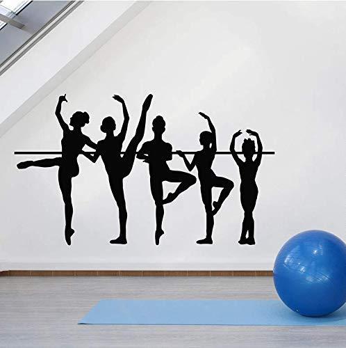 Bailarina Tatuajes De Pared Silueta Ballet Escuela Estudio Artista Bailarina Teatro Decoración De Interiores Sala De Baile Vinilo Adhesivo 57X33Cm