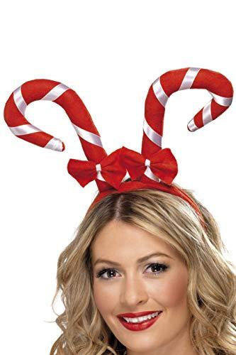 Smiffys Damen Süßigkeiten Stock mit Schleifen auf Haarreif, One Size, Rot und Weiß, 38327