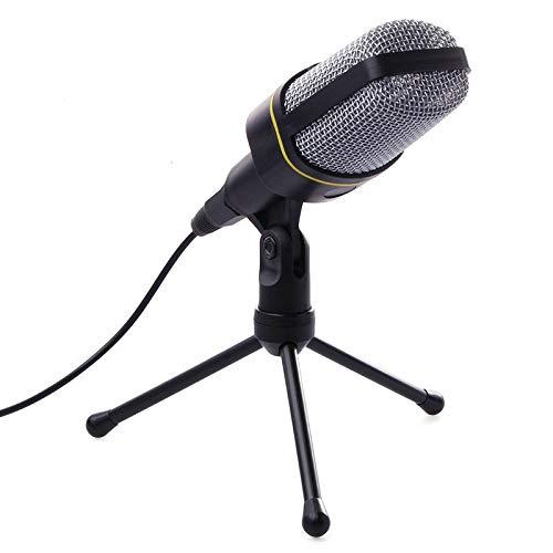 TenYua Micrófono profesional de condensador de computadora de soporte de micrófono de estudio de 3,5 mm con cable clip retro de mano de estilo retro micrófonos de escritorio