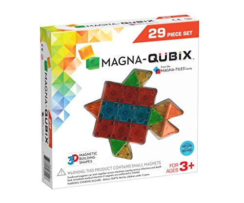 Magna-Qubix 29-Piece Set, The Original Magnetic Building Blocks For Creative Open-Ended Play, Educational Toys For Children Ages 3 Years +