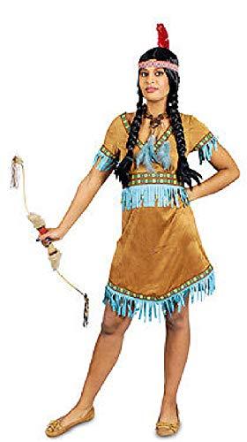 K31250245-36-38 braun-türkis Damen Apachenkostüm Indianerkleid Gr.36-38