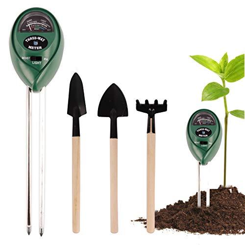 Ulikey Tester per Il Suolo con Pezzi di Strumenti Bonsai, 3 in 1 Test per Terreno per misuratore di umidità Luce PH, Igrometro Piante per Prato, Fattoria, Piante (Plant-F)