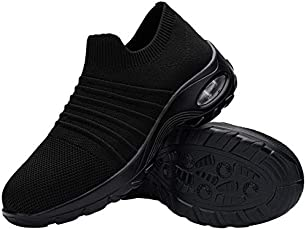 FENLERN Steel Toe Shoes for Women Lightweight Air Cushion Safety Sneakers Slip On Work Shoes Ladies Safety Toe Sock...