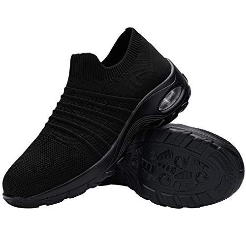 FENLERN Steel Toe Shoes for Women Lightweight Air Cushion Safety Sneakers Slip On Work Shoes Ladies Safety Toe Sock Sneaker Girls Walking Tennis Shoe