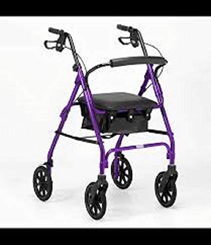 Days Leichtklapp Four Wheel Rollator Walker mit gepolstertem Sitz, abschließbare Bremsen, Ergonomische Griffe und Tragetasche, Begrenzte Mobilitätshilfe, Lila, X-Small,
