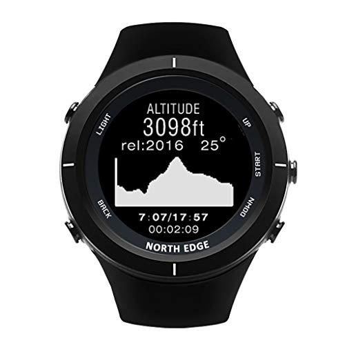 Fulltime North-Edge Range Herren-Outdoor-Sport-Smartwatch mit professionellen Sportmodi: Schwimmen/Radfahren/Laufen/Joggen/Höhe/Barometer/Kompass/Tauchen/Schrittzähler (Schwarz)