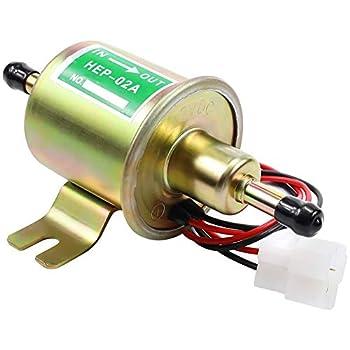 Electric Fuel Pump 12V Universal Low Pressure 12 Volt Transfer Inline Fuel Pump for Lawn Mower Carburetor Gas Diesel Engine 2.5-4psi HEP-02A