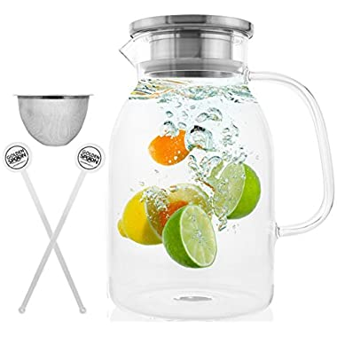 Glass Pitcher With Lid By Golden Spoon: Durable Glass Carafe With Airtight Cap - Microwave And Freezer Safe Borosilicate Glass For Hot And Cold Liquids - Comes With 2 Stirrers And A Strainer (60 oz)