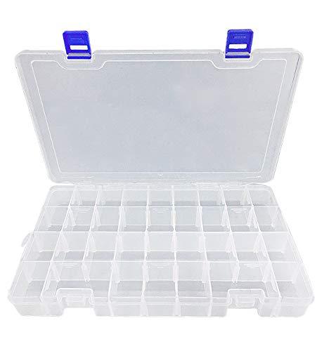 Qualsen Ajustable Caja de Almacenamiento de plástico Joyería Organizador Contenedor de Herramientas (34 Compartimientos, Transparente)