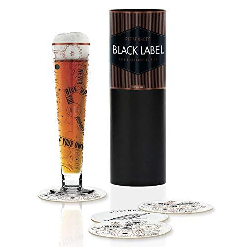 RITZENHOFF Black Label Bierglas von Burkhard Neie, aus Kristallglas, 300 ml, mit fünf Bierdeckeln