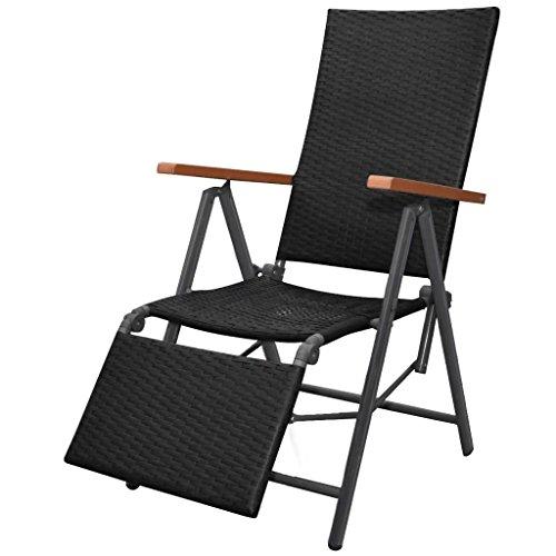 Festnight Chaise Longue Inclinable Résine Tressée Noir 55 x 65 x 106 cm