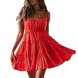 Mingriya Womens Spaghetti Strap Summer Dress Casual Short Sundress Beach Mini Dresses (Red, XX-Large)