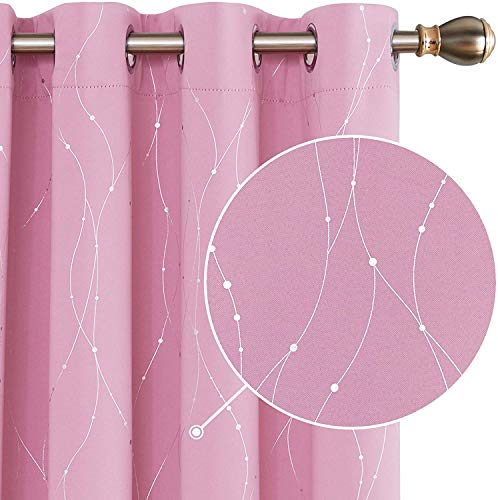 Deconovo Blickdicht Gardinen Ösen Vorhang Muster Verdunkelungsvorhang Kinderzimmer 245x140 cm Rosa 2er Set