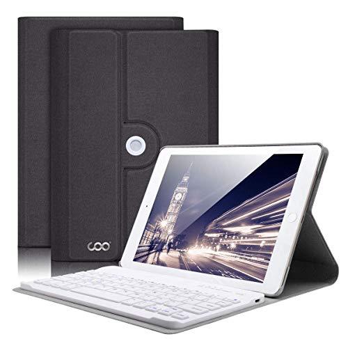 COO Funda Teclado iPad Mini 4, Funda iPad Mini 4 con Teclado Español Bluetooth Inalámbrico Desmontable para iPad Mini 4 con Visión de Multiángulo y 360 Grados Soporte Giratorio (Gris)