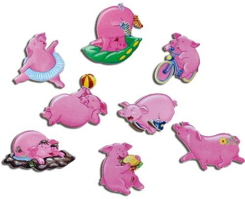 Kühlschrankmagnete Rosa Schweine Magnete für Magnettafel Kinder stark 8er Set Comic mit Motiv Tiere lustig