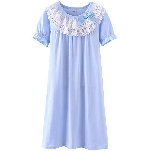 DGAGA Little Girls Princess Nightgown Cotton Lace Bowknot Sleepwear Nightdress Blue 9-10 Years /150cm