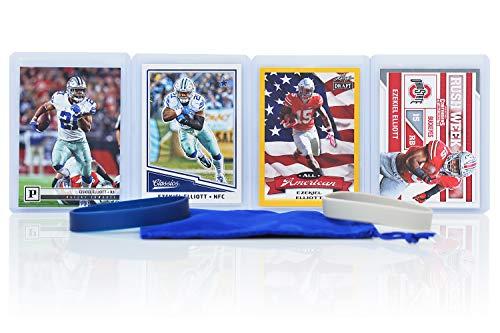Ezekiel Elliott Football Cards (4) - Dallas Cowboys or Ohio State Buckeyes Trading Card Gift Bundle