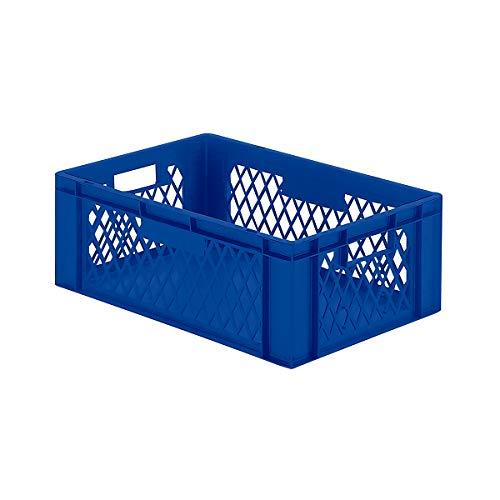 Euro-Format-Stapelbehälter, Wände durchbrochen, Boden geschlossen - LxBxH 600 x 400 x 210 mm - blau, VE 5 Stk - Euronorm Stapelkasten Euronorm Stapelkästen Euronorm-Stapelkasten