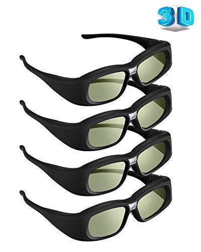 Elikliv 144 Hz DLP Link 3D Glasses, 4 Pack Rechargeable 3D Active Active Shutter Glasses for 3D DLP Projectors, Compatible with Acer, ViewSonic, BenQ, Vivitek, Optoma, Panasonic, Dell, Viewsonic
