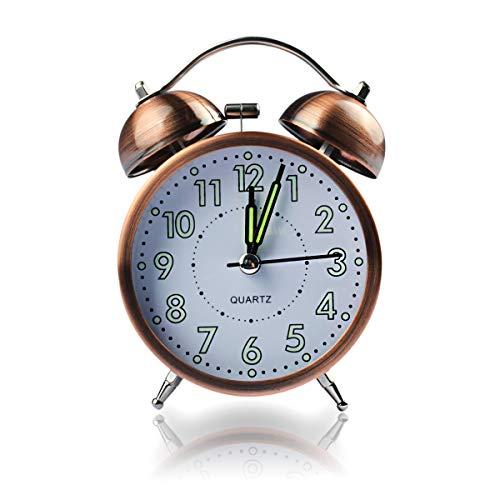 Coolzon Relojes Despertadores Analogico, Doble Campanas Relojes Despertadores de Mesita Despertadores Vintage Silencioso sin Tictac Despertador Infantil con Luz de Noche, 3' Luz de Fondo