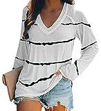 Camisa para Mujer Manga Larga Blusas Cuello en V Camiseta Túnica Casual Elegante Tops Rayas T-Shirt Blanco