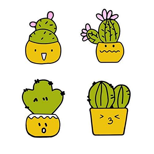 SFFSMD 2-4pcs / Set Animales Kawaii alfileres botón Insignia Broche Gato Cerdo Conejo Flor de Cactus de Mezclilla Camisa Chaquetas broches Mejor Amigo jewelyry (Talla : Style 9)