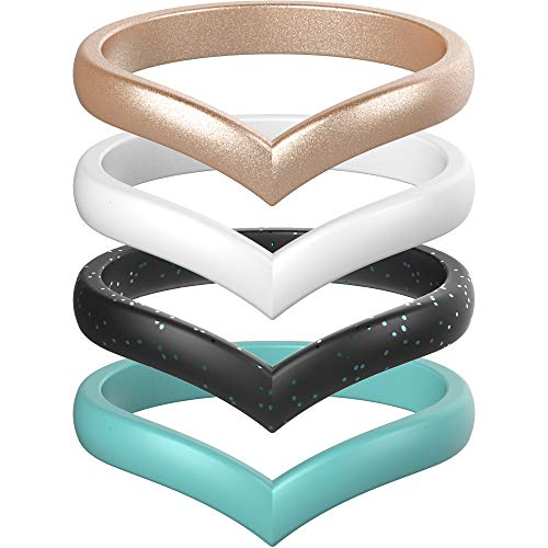 ThunderFit Thin Heart Shaped Silicone Wedding Rings for Women (Rose Gold, White, Black Teal Glitter, Teal, 6.5-7 (17.3mm))