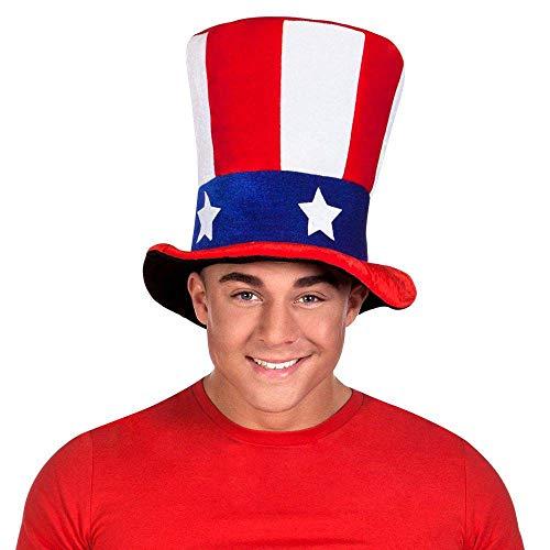 Boland 04226 - Plüschhut USA, 1 Stück, Einheitsgröße, Hut Uncle Sam, Zylinder, Amerika, Sterne und Streifen, Stars and Stripes, Nationalflagge, Kappe, Kopfbedeckung, Accessoire, Karneval, Mottoparty