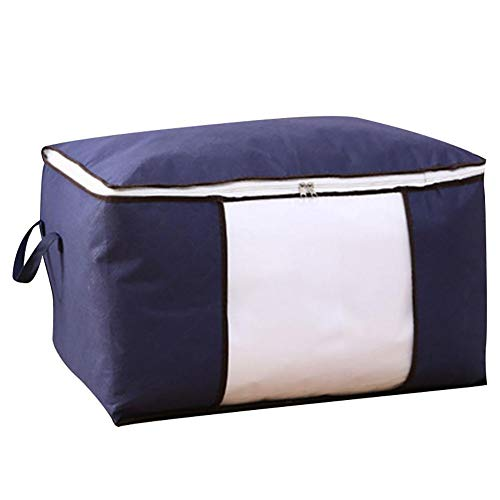 Aimili Quilt Storage Bag, Thick Non-Woven Quilt Storage Bag, Luggage and Clothing Moving Packing Bag, Clothing Storage Bag With Zipper, Moisture-Proof Clothing Organizer 60x40x35CM Deep Blue