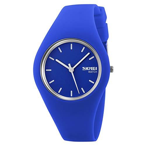 FeiWen Relojes de Mujer y Niña Minimalismo Fashion Estilo Cuarzo Analógico Goma Bisel con Correa Elegante Casual Reloj de Pulsera 12 Colorear (Azul)