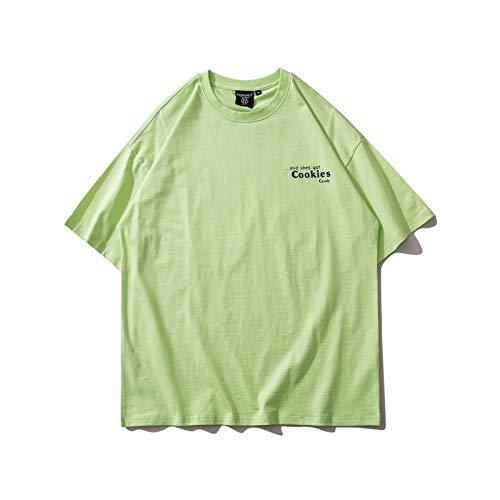 DREAMING-Camiseta de Manga Corta para Hombres y Mujeres, Camiseta de algodón con Cuello Redondo y Estampado Suelto, Camiseta de Pareja Superior, Pantalones de Verano XL