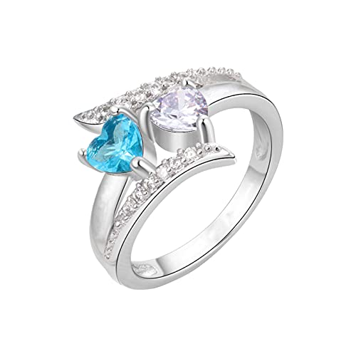Anillo con 2 piedras de nacimiento Simuladas para madres para parejas, anillo de San Valentín para mujer