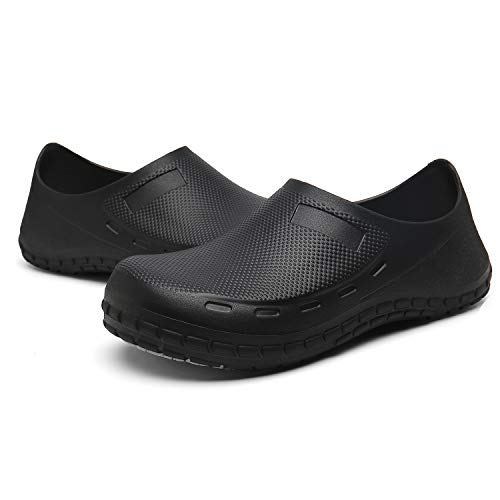 JSWEI Chef Shoes for Women Slip Resistant - Waterproof Oil Slip Resistant Nursing Shoes for Women Comfortable Slip On Lightweight Durable Work Shoes Black 7