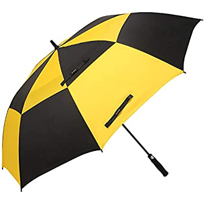 Doubwell Golf Umbrella Large Oversize 68 inches air Vent Double Canopy Windproof Automatic Straight rain Umbrellas for Men and Women (Black/Yellow)