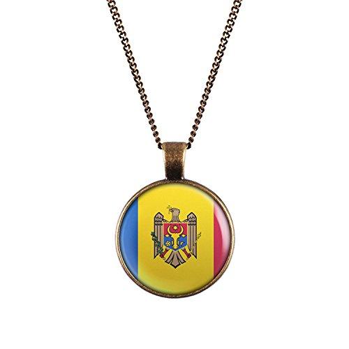 WeAreAwesome Moldawien Flagge Halskette - Moldau Länderkette mit Fahne Anhänger Unisex Kette