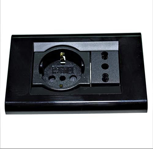 Living Classica Placca compatibile più Supporto e presa schuko + bipresa nera