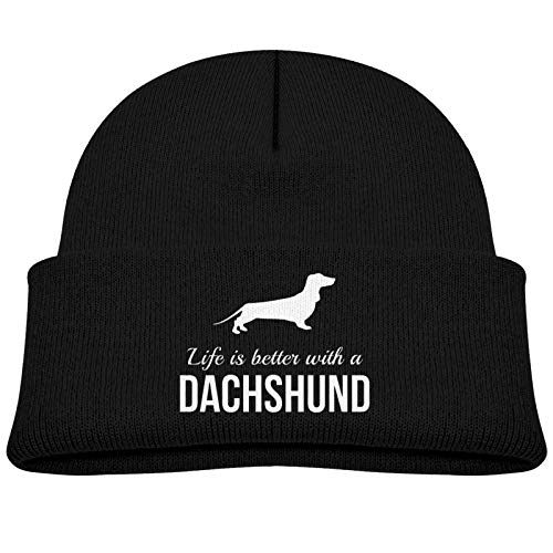 KAYCVD Life is Better with Dachshund Baby Beanie Winter Hats Unisex Knit Warm Skull Cap for Toddler Infant Black