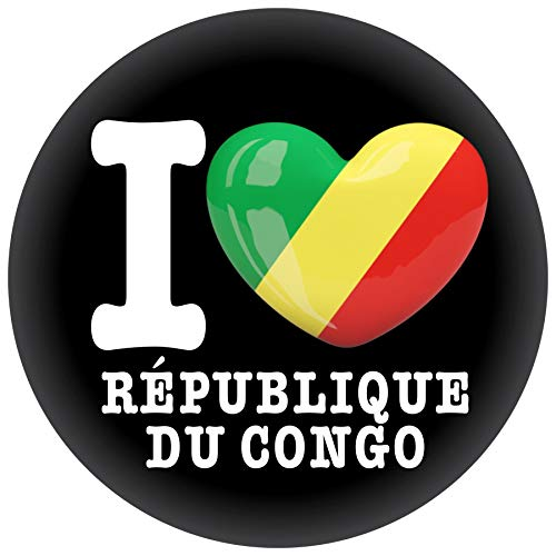FanShirts4u Button/Badge/Pin - I Love REPUBLIK KONGO Fahne Flagge (I LOVE REPÚBLIQUE DU CONGO)