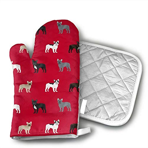 French Bulldogs Dog Heat Resistant Hot Oven Mitts & Pot Holders for Kitchen Set,for BBQ Cooking Baking, Grilling
