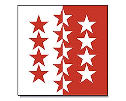 Flagge/Fahne WALLIS schweizer Kanton Schweiz Staatsflagge/Landesflagge/Hissflagge mit Ösen 90x90 cm, sehr gute Qualität