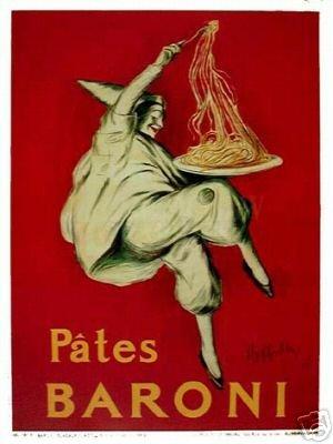 PATES BARONI Italian Spaghetti Pasta Vintage AD Poster