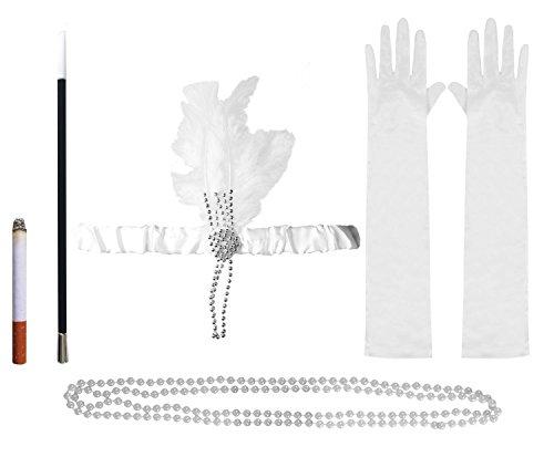Plume Blanche Costume Charleston Ensemble d'accessoires, Headband, Perle Perles Porte Cigarette & Fausses cigarettes & Blanc Long Gants Déguisement Costume