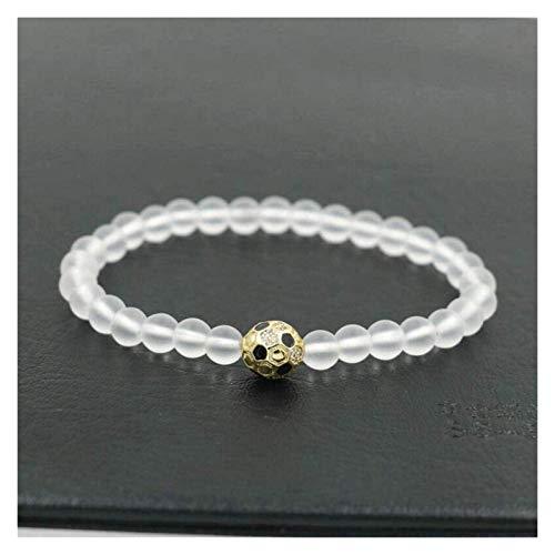 HAOKTSB Pulsera de Piedra Mujer, 7 Chakra 20 cm Perlas de Piedra Natural de Cristal Helada Brazalete elástico de Oro joyería de fútbol Dorado Yoga Difusor de Encanto de energía Pulsera de Piedra