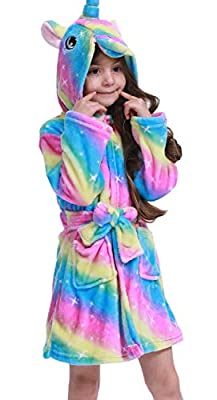 Chicone Kid's Coral Fleece Unicorn Hooded Bathrobe Fluffy Sleep Robe for Boys and Girls