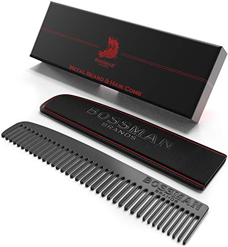 Bossman Beard Comb, Powder Coated Metal Hair Comb, Patent Pending Design Eliminates Snagging of Hairs for a Smooth Glide