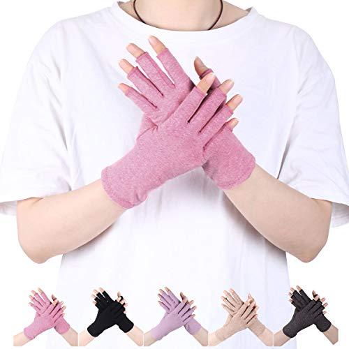 LADES DIRERCT Arthritis Handschuhe - Kompressions-Handschuhe Für Schmerzlinderung Rheumatische Arthritis Fingerlose Handschuhe Damen Herren Handschuhe Osteoarthritis Gelenkschmerzen (Rosa, L)