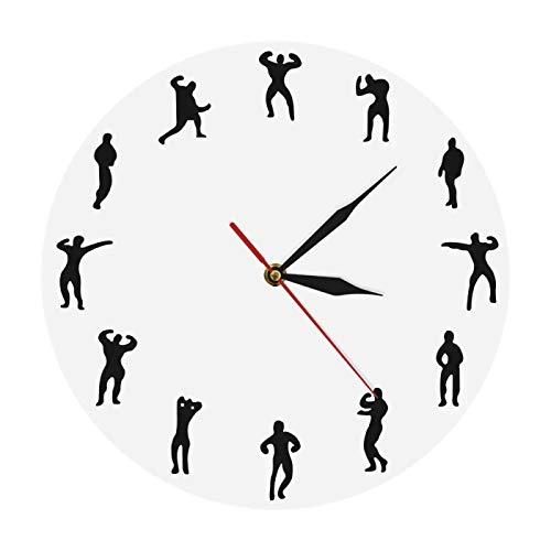 xinxin Reloj de Pared Gimnasio Hombre Diseño Reloj Fitness Reloj de Pared Mantenerse en Forma Reloj de Pared Moderno Reloj Decorativo Culturismo Gimnasio Decoración de Pared